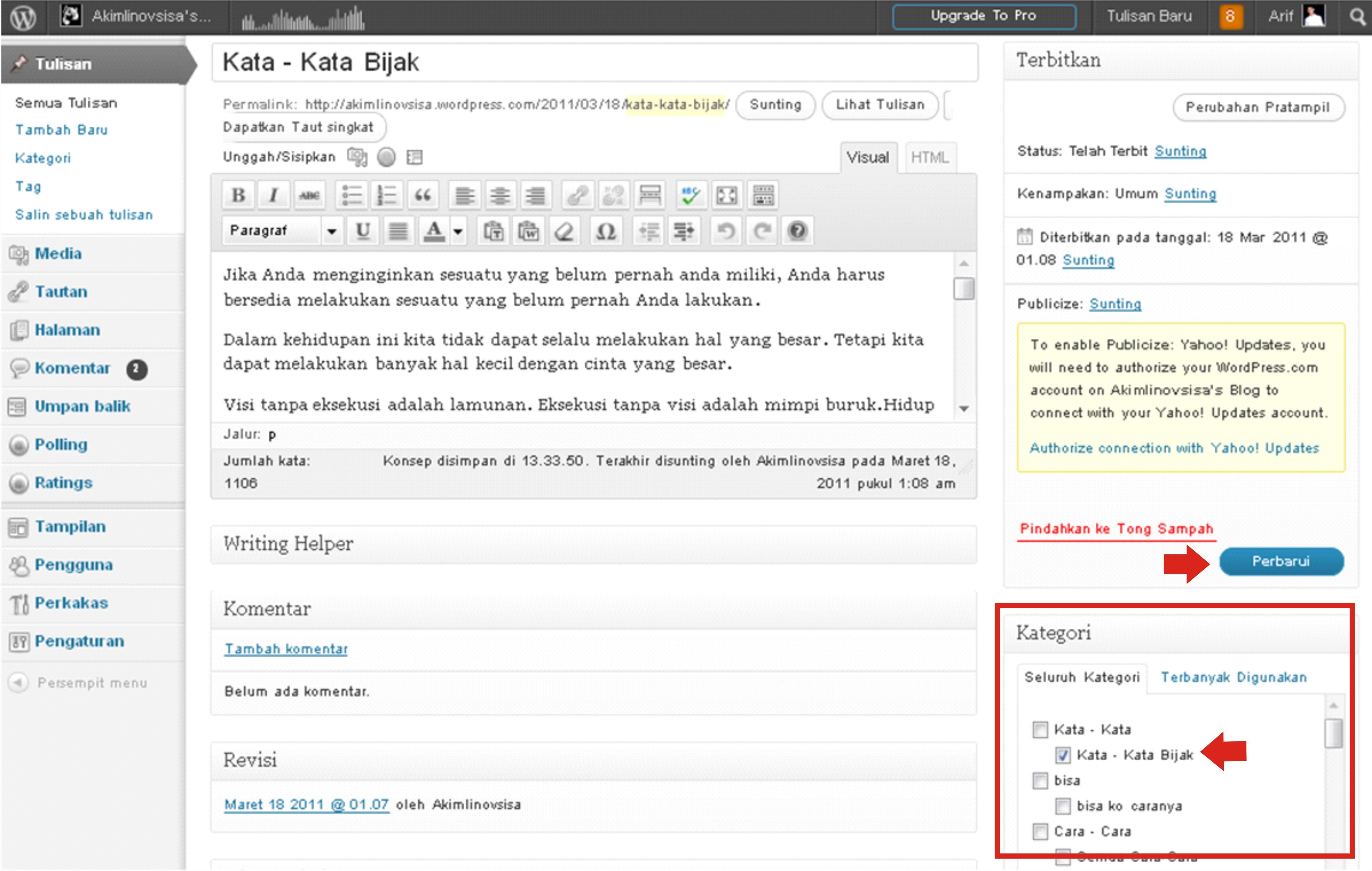 Cara Membuat Kategori Di Postingan Wordpress Febri Irawanto