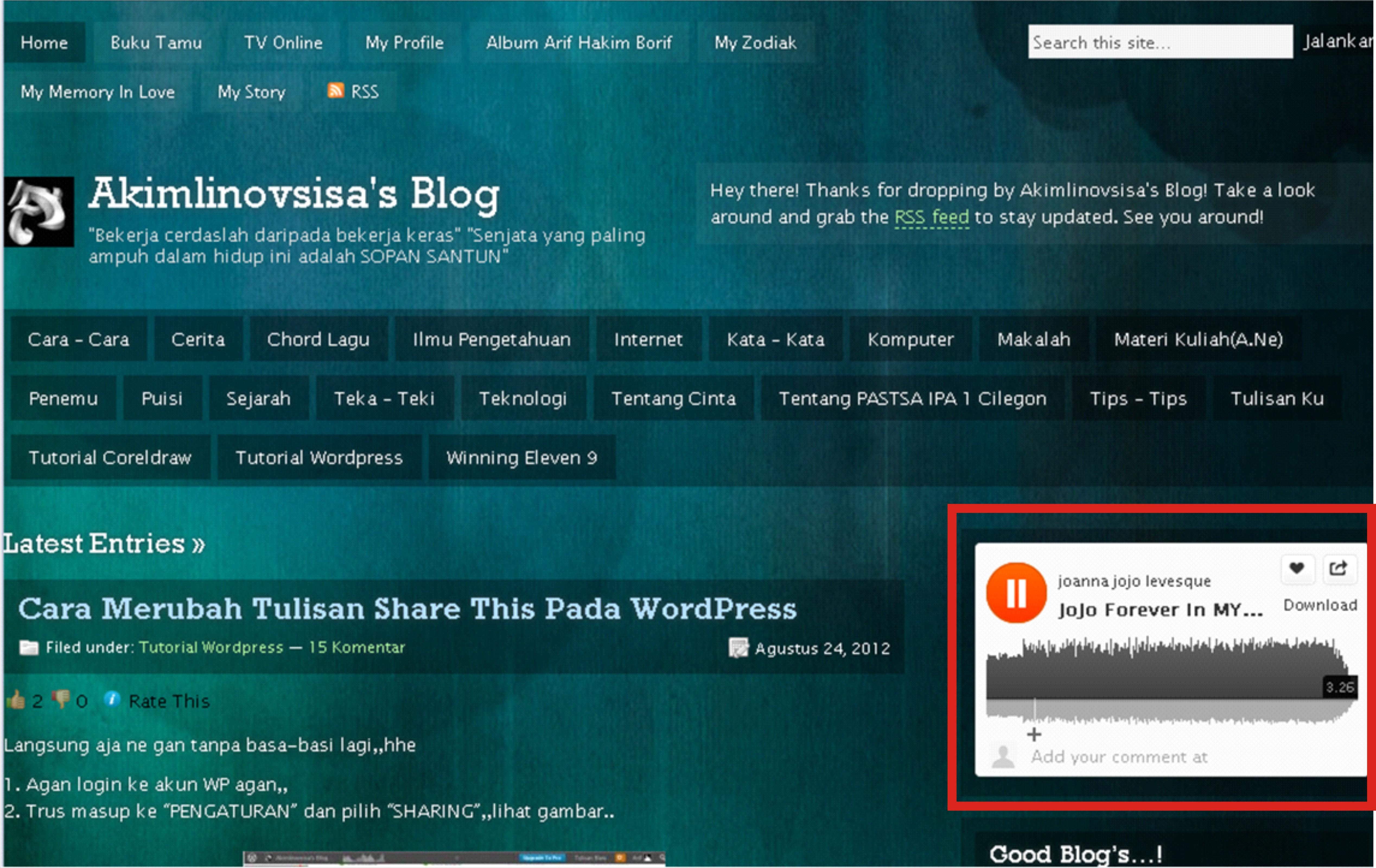 Cara Memasang Musik Pada WordPress Soundcloud Season III